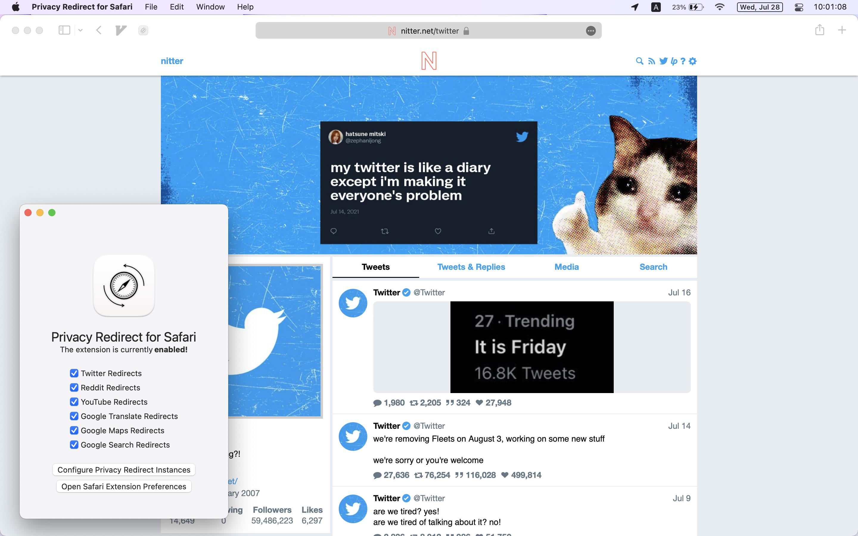 Privacy Redirect for Safari next to a Safari window open to Nitter